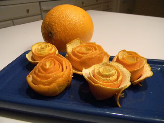 We have eaten more oranges than this, but I goofed up the first few roses.