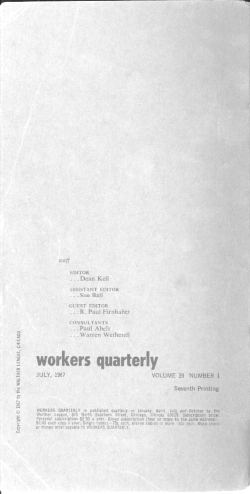 Workers Quarterly * Hymns for Now | LaurenandLloyd com